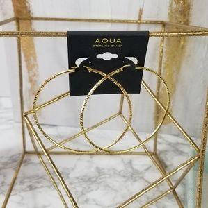 Aqua Hoop Earrings 18k gold plated Sterling Silver